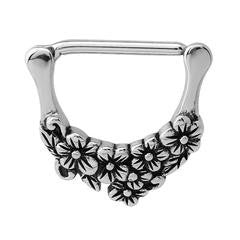 316L surgical steel nipple clicker with pretty floral/flower detail 1.6mm x 14mm