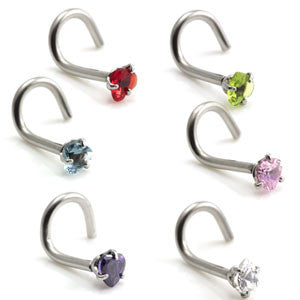 316L surgical steel claw set heart shaped gem jewelled nose stud