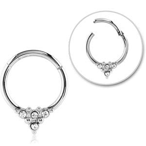 316L surgical steel triple jewelled triangle pattern hinged septum ring 1.2mm