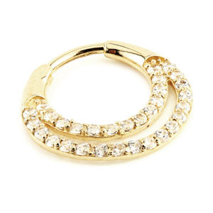 9ct Gold double banded gem set hinged septum clicker/ring 1.2mm