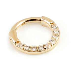 9ct yellow gold multi jewelled/clear cz/crystal hinged septum clicker ring in 1.2mm gauge x 8mm internal diameter.