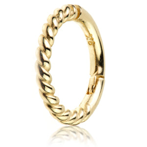 Twisted rope design hinged  ring in 9ct yellow gold. Size 1.2mm thickness x 6mm and 7mm internal diameter for septum piercings.