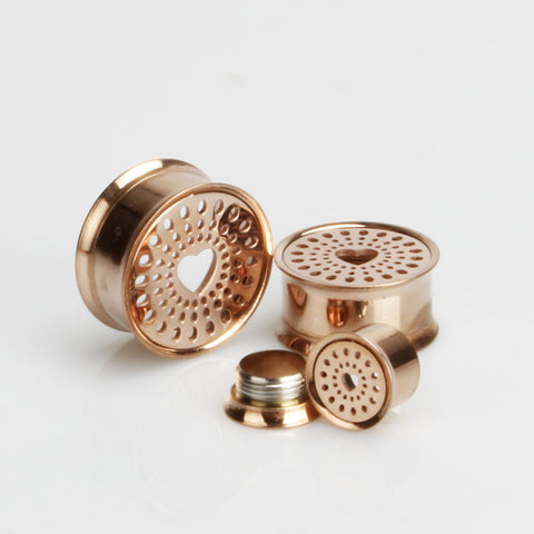 rose gold pvd steel two-part double flared tunnel with cutout heart front detail 10mm - 20mm