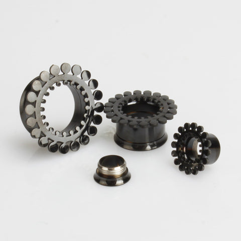 black pvd steel tunnels with circle rim pattern detail double flared 10mm - 20mm