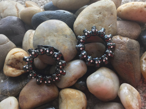Halloween bling skull jewelled eyes tunnel in black PVD steel, sizes 6mm - 20mm