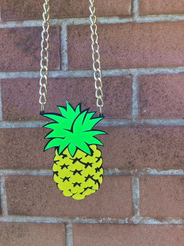 Pineapple summer fruits festival fun fashion necklace made from laser cut acrylic on chunky gold coloured chain