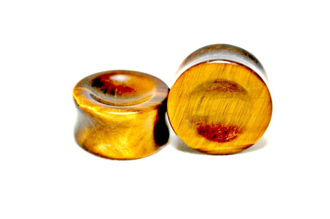 Tiger's Eye Semi-Precious Gemstone Double Flared Plug
