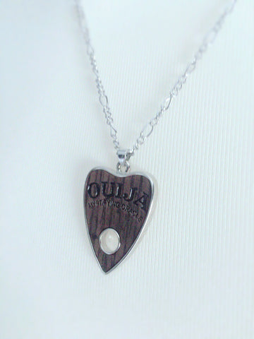 Steel & Wood Ouija Planchette Fashion Necklace