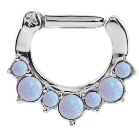 Surgical steel hinged septum clicker ring with 7 clawset blue opals 1.2mm x 8mm