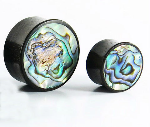 double flared ebony plugs with abalone shell front inlay 10mm - 24mm