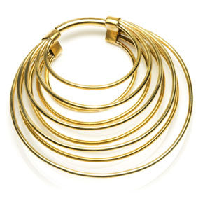 Banded brass circle ear stretcher hoop weight/hanger for stretched eats 3mm or above