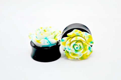 balck acrylic double flared 3d rose flower flesh plug 8mm - 24mm