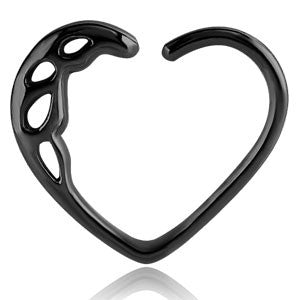 black pvd steel cutout pattern daith heart ring 1.2mm