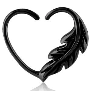 black pvd surgical steel leaf design continuous daith piercing heart ring 1.2mm