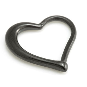 Hinged daith heart black PVD steel ring in 1.2mm. Suitable for daith, rook, upper ear and standard lobe piercings