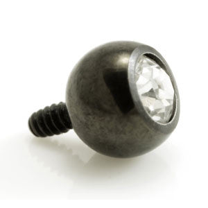 Black PVD titanium clear jewelled round ball threaded top for dermal anchor piercings to fit 1.2mm & 1.6mm anchor bases