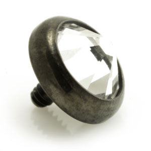 Clear gem disk dermal anchor threaded top on black PVD titanium for internally threaded jewellery/bases 1.2mm & 1.6mm