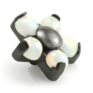 Black PVD titanium opal flower dermal anchor threaded top to fit 1.2mm & 1.6mm dermal bases