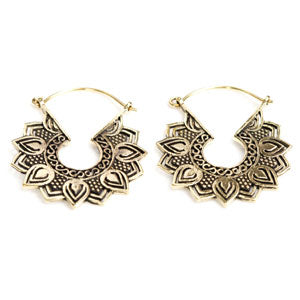 Lotus petal boho/ethnic tribal style brass tunnel drop hoop earrings 1mm
