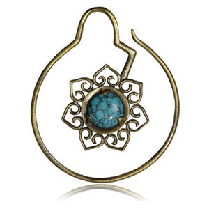 Brass mandala flower hoop ear weight with turquoise centre stone 1.6mm 7gm weight