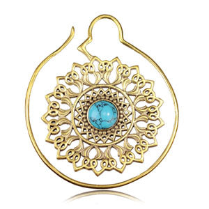 Brass mandala & turquoise hoop ear stretching weight, 13gms, 1.2mm gauge/thickness