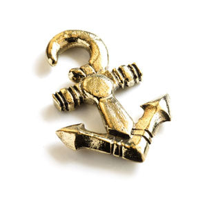 Nautical anchor design brass ear stretching weight 6mm