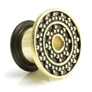Brass Afghani Detailed Single Flared Plug