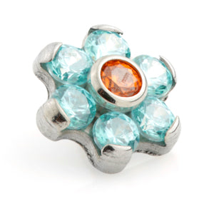 Internally threaded medical grade titanium gem flower labret stud 1.2mm with byzantine & topaz crystal jewels