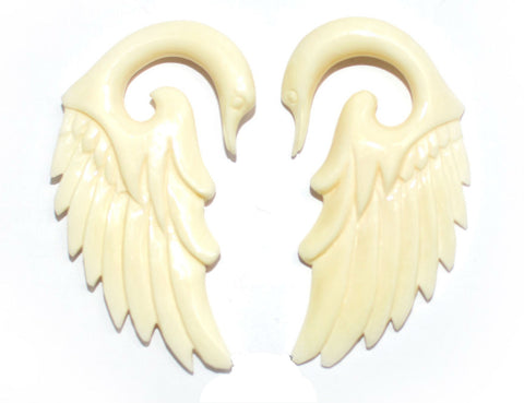 Carved Organic Bone Swan Ear Hanger
