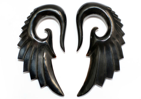 Carved Organic Horn Demon Wing Ear Hanger