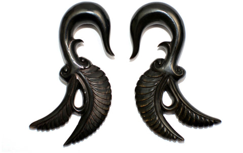 Carved Organic Horn Feather Ear Hanger