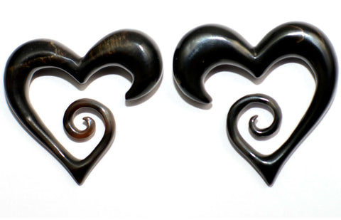 Carved Organic Horn Heart Ear Hanger