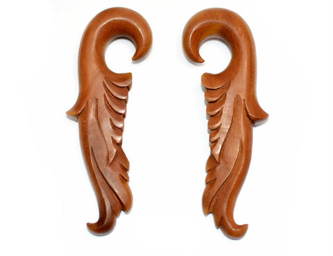 Carved Organic Sawo Wood Feather Ear Hanger