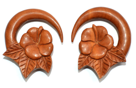 Carved Organic Sawo Wood Flower & Leaf Ear Hanger