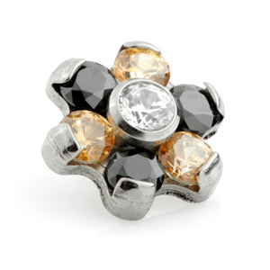 Internally threaded medical grade titanium champagne, jet black & CZ/clear crystal gem flower labret stud 1.2mm