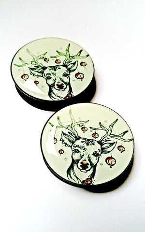 tattooed rudolph the red nosed reindeer christmas 2016 festive acrylic plug 6mm - 30mm