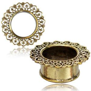 Brass heart rim double flared ear stretching tunnel 6mm - 16mm