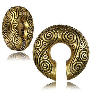 Engraved brass circle ear stretching weight in three sizes; 10mm, 12mm & 14mm