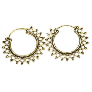 Tribal brass circles tunnel drop earrings. 1mm gauge, sold in pairs