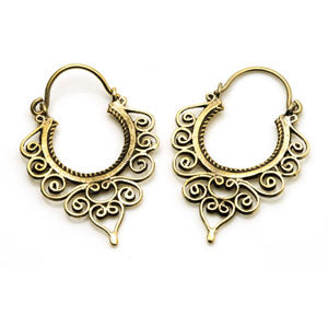 Tribal brass swirl hoop tunnel drop earrings 1.0mm, sold in pairs