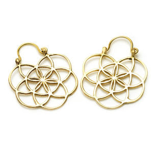 Flower of Life geometry esoteric spiritual symbol brass tunnel drrop hoop earrings