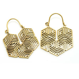 Hexagonal geometry pattern brass tunnel drop hoop earrings. 1mm gauge to suit standard ear piercings or can be worn through any tunnels in any stretched ears