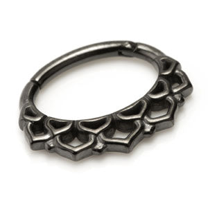 Gunmetal steel PVD hinged Boho design septum & daith ring in 1.2mm x 6mm for healed septum or ear piercings