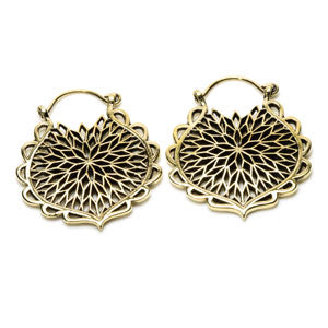 Brass Lotus Flower design tribal/ethnic tunnel drop hoop earrings to wear through stretched ears or standard healed ear piercings