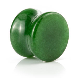 Double flared natural semi-precious gemstone jade green stone plugs/gauges. Sold individually in sizes 4mm - 16mm