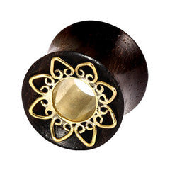 Sono Wood & Brass Lotus Flower Double Flared Tunnel