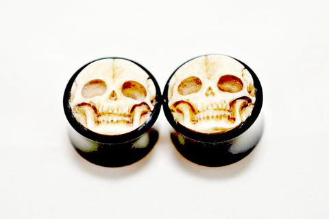 Organic Horn Double Flared Carved Bone Skull Plug