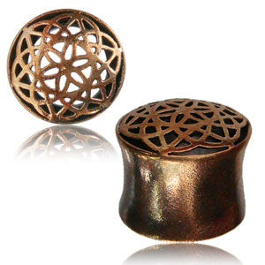 Rose bronze geometric mandala flower front double flared eyelet 8mm - 16mm