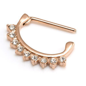 Rose gold PVD steel 9 Swarovski clear jewel nipple clicker 1.6mm 14mm 16mm
