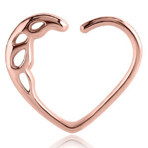 Rose Gold PVD Steel Cutout Daith Heart Continuous Ring